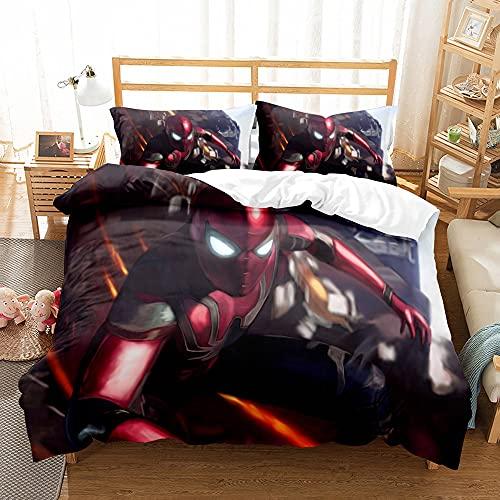 Aatensou - Juego de 3 fundas de edredón para niños Marvel Avengers Heroes (incluye 1 funda de edredón y 2 fundas de almohada) (AV2.135 x 200 cm + 50 x 75 cm x 2)