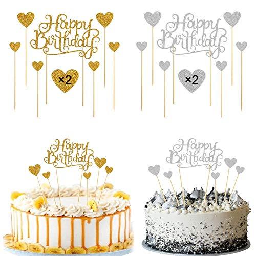 KINDPMA 4pcs Cake Topper Happy Birthday Topper Gold Silber Tortendeko Kuchen Topper Geburtstag Cupcake Topper Kuchendeko für Geburtstag Party Torten Muffin Dekoration