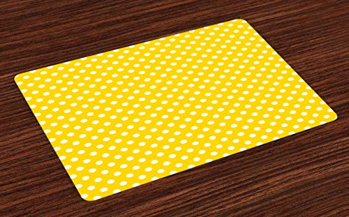Hokdny Yellow Place Mats Set of 4 Picnic Inspired 50s 60s 70s Themed Polka Dot Retro Spotted Pattern Print Washable Fabric Placemats for Dining Table Standard Size Yellow and White