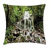 Cascada Funda de Almohada Throw Pillow Cojín, Selva Tropical con Cascada sobre Rocas Piedras Follaje Hábitat denso Clima