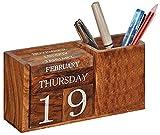 Frescorr - Calendario in legno perpetuo, decorazione per casa e ufficio, 6,5 x 2 x 3,5 cm