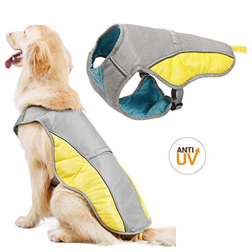 SelfLove Chaleco de refrigeración para Perro Abrigo para Perros Chaqueta de refrigeración para Perros Reflexivo Transpirable Ajustable Verano Anti-UV (XL)