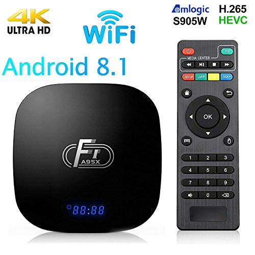 Android 8.1 TV Box,Smart Media Player 2+16GB ROM Amlogic S905W Media Box,Support 2.4GHz WiFi 3D/1080P/4K Android TV Box with Remote Control
