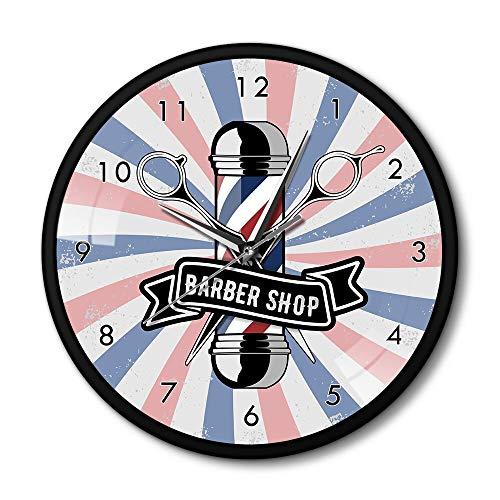 GAVA Reloj de cocina Peluquería Signo Peluquería Reloj de pared de hierro Marco de metal Cuarto decorativo bigote hombre barbudo estilo hora