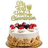 My First Holy Communion Cake Topper for Kids Birthday, Baby Shower, Wedding Baptism Christening Party Decorations Gold Glitter