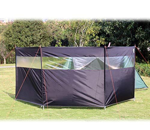 HIKEMAN Camping Windschutz Sichtschutz Garten - Strand Windschutz mit Sichtfenster,Outdoor Caravan Privacy Shield,kann als Zeltplane für Picknick,Grill,Lagerfeuer verwendet Werden(Black)