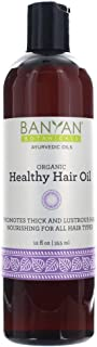 Banyan Botanicals Healthy Hair Oil – Organic Herbal Oil with Bhringaraj & Amla – Ayurvedic Hair Care for Strong, Thick, Lustrous Hair & for Scalp Massage – 12oz. – Non GMO Sustainably Sourced Vegan