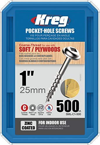 Kreg SML-C1-500 1-Inch #8 Coarse Washer-Head Pocket Hole Screws, 500 Count - SML-C1 - 500