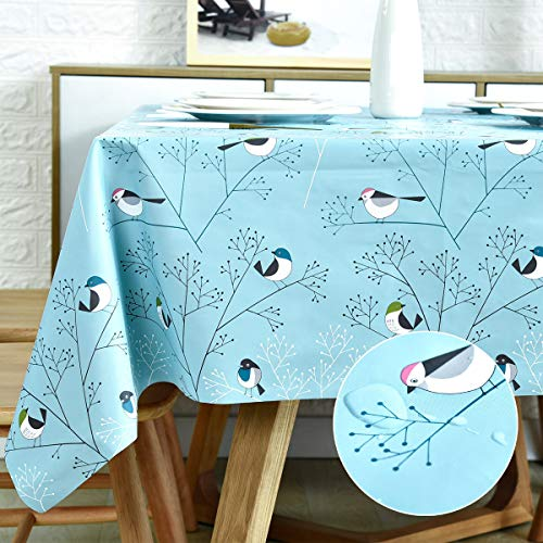 Rectangle Vinyl Tablecloth Wipeable Oil-Proof Waterproof PVC Heavy Duty Long Oilcloth Tablecloth Turquoise Bird 54 x 108 Inch