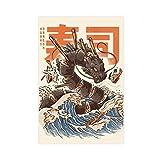 Großes Sushi-Drachen Poster auf Leinwand, Wandkunst,