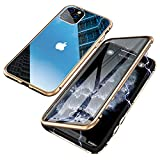 Jonwelsy Funda para iPhone 11 Pro MAX (6,5 Pulgada), Adsorción Magnética Parachoques de Metal con 360 Grados Protección Case Cover Transparente Ambos Lados Vidrio Templado Cubierta (Oro)