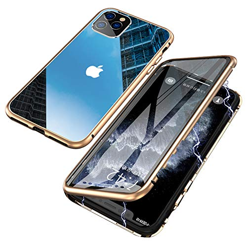 Jonwelsy Magnetic Adsorption Case for iPhone 11 Pro (5.8 inch), 360 Degree Front and Back Clear Tempered Glass Flip Cover, Metal Bumper Frame for iPhone 11 Pro (Gold)