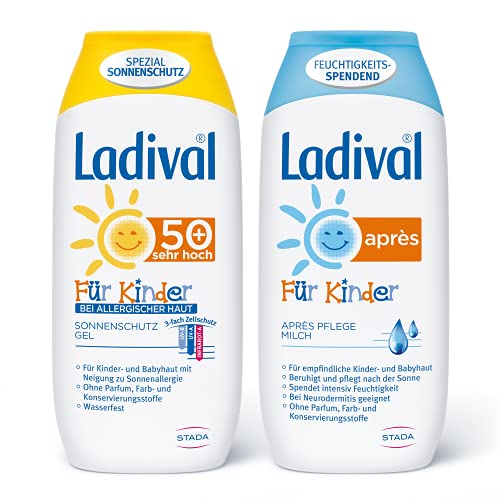 Ladival Kinder bei Allergischer Haut Sonnenschutz Gel LSF 50+ und Ladival Kinder Après Lotion im 2er Set - Parfümfrei, ohne Farb- und Konservierungsstoffe - jeweils 200 ml
