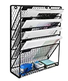 PAG Hanging File Holder Organizer Metal Chicken Wire Wall Mount Magazine Rack, 5 Tier, Black