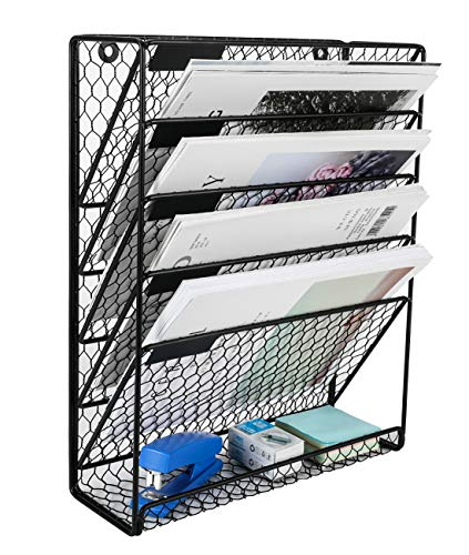 PAG Hanging Wall File Holder Mail Organizer Metal Chicken Wire Wall Mounted Literature Rack 6 Tier Black