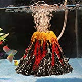 HAIMEN Decoración para acuario volcán de resina volcánica para acuario, multicolor, decoración subacuática