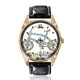 Fahrrad-Armbanduhr, analog, Quarz, goldfarbenes Zifferblatt, klassisches Lederband, für Damen und Herren