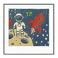 宇宙飛行士キャンバスウォールアートプリントポスター宇宙飛行士絵画壁画アルミニウム合金フレームとプレキシガラスの家の装飾子供男の子寝室保育園のリビングルーム