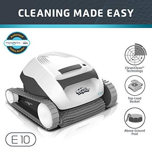 Dolphin E10 Automatic Robotic Pool Cleaner with Easy to Clean Top Load Filter Basket Ideal for Above...