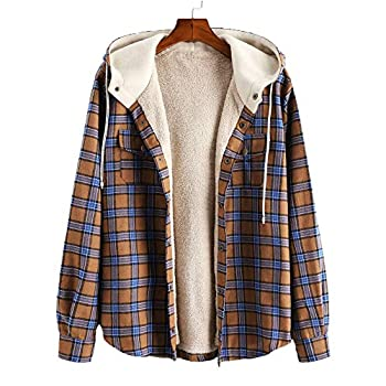 ZAFUL Men s Plaid Flannel Lined Hooded Jacket Long Sleeve Unisex Fuzzy Shirt Coat Tops  M Camel brown