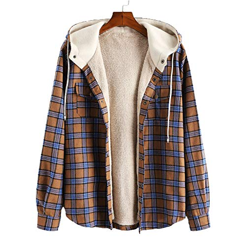 ZAFUL Men's Plaid Flannel Lined Hooded Jacket Long Sleeve Unisex Fuzzy Shirt Coat Tops (L, Camel Brown)