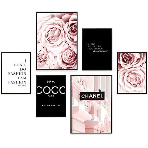 Heimlich® Premium Poster Set | Stilvolles Set mit passenden Bilder als Wohnzimmer Deko | 2 x DIN A3 & 4 x DIN A4 - ca. 30x42 & 21x30 | ohne Bilderrahmen » Coco Schwarz «