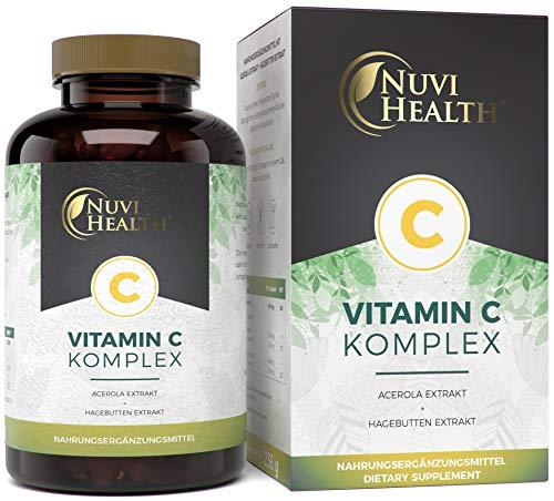 Nuvi Health® Natürlicher Vitamin C Komplex - 240 Kapseln - Acerola-Extrakt & Hagebutten-Extrakt mit 400 mg Vitamin C pro Tagesportion - 4 Monatsvorrat - Hochdosiert - Laborgeprüft - Vegan