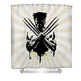 Lplpol Wolverine - Tenda da doccia con 10 ganci, 150 x 180 cm