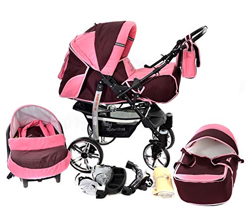 Sportive X2, 3-in-1 Travel System incl. Baby Pram with Swivel Wheels, Car Seat, Pushchair & Accessories (3-in-1 Travel System, Dark Red & Pink)