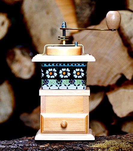 Kaffeemühle Porzellan Typ 2 Holz Gewürzmühle Bunzlauer Mühle Handarbeit Espressomühle