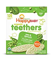 Happy Baby オーガニックベビーフード Teethers エンドウ豆&ホウレンソウ 24枚入り [海外直送品]