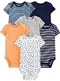 Simple Joys by Carter's Boys' 6-Pack Short-Sleeve Bodysuit, sailboat/blue stripe/orange/gray, 3-6 Months