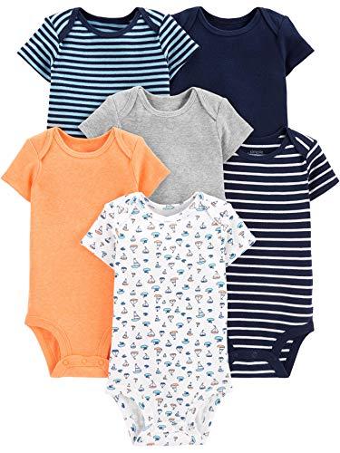 Simple Joys by Carter s - Body de manga corta para bebé, 6 unidades ,Sailboat Blue Stripe Orange Gray ,12 Meses