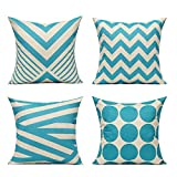 All Smiles Aqua Outdoor Throw Pillow Cases Light Sky Blue Decorative Cushion Covers 18 x 18 Set of 4 Home Decor Accent Square for Couch Sofa Patio Bed Living Room,Modern Geometry Decorations