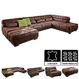 Cavadore Wohnlandschaft Scoutano, XXL Couch in U Form im Industrial Design, 363 x 76 x 227 cm, Lederoptik braun