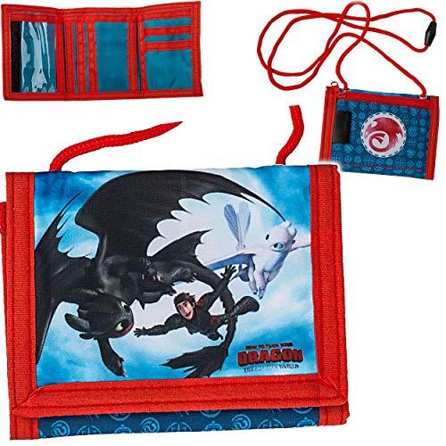 alles-meine.de GmbH Geldbörse / Brustbeutel - Dragons - Drachenzähmen leicht gemacht - mit Sichtfenster - für Buskarte + Kordel zum Umhängen - Geldbeutel & Portemonnaie für Kinde..
