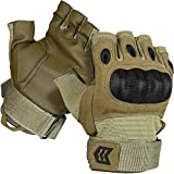 Mission Made Hellfox Fingerless Tactical Hard Knuckle Gloves for Men (Coyote, X-Large)