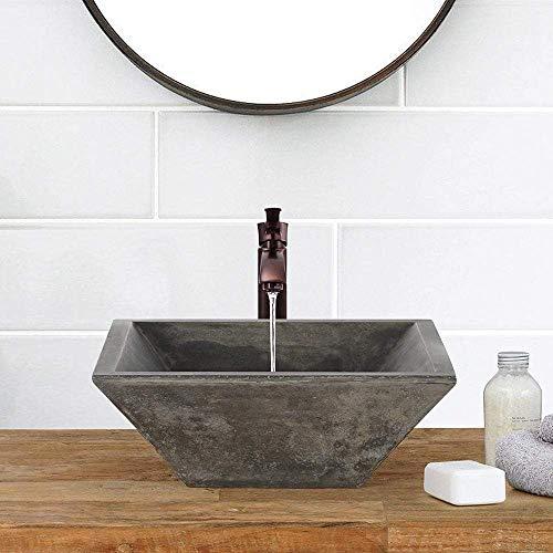 Magnus Home Products Uriah Square Cast Concrete Vessel Bathroom Sink, Dusk Grey, 15 3/4' L x 15 3/4' W, 35.0 lb