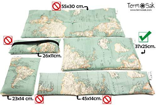 TERMOSAK 37x25 cm + Funda, Cojín térmico modulado con separaciones, saco térmico hot-cold (calor/frio) de semillas alta densidad y lavanda con funda lavable de misma tela. (37x25 + funda, Verde)