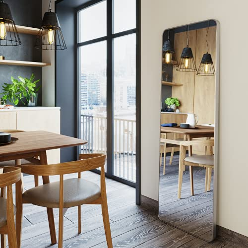 Upland Oaks Large Full Length Body Mirror for Floor & Wall in Bedroom – Metal Frame – Big & Tall Long Mirror for Leaning – Full Length Wall Mirror Size 65″ x 21″ (Silver, Slim Lip)