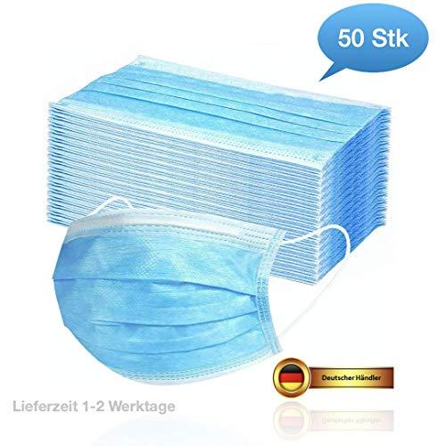 50 Stück Mundschutz Masken Mund-Nasen-Schutz Staubmasken mit Ohrenschlaufe, Blau Einweg Vlies Atemschutz Hygienemaske Schutzmaske Gesichtsmaske 3 lagig gegen Verschmutzungen Staub (50 Stück)