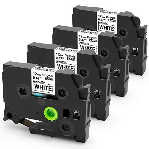Oozmas Compatible Label Tape Replacement for TZe-231 12mm 0.47 Inch Laminated Black on White TZ Tape Compatible with Brother P Touch D400 1280 1800 1880 1900 Label Maker Tape, 4 Pack