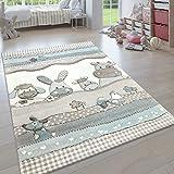 Paco Home Kinderteppich, Moderner Kinderzimmer Pastell Teppich, Niedliche 3D Tiermotive, Grösse:80x150 cm, Farbe:Beige