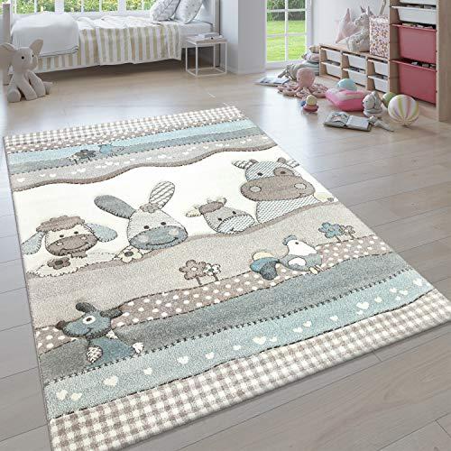 Paco Home Kinderteppich, Moderner Kinderzimmer Pastell Teppich, Niedliche 3D Tiermotive, Grösse:120x170 cm, Farbe:Beige