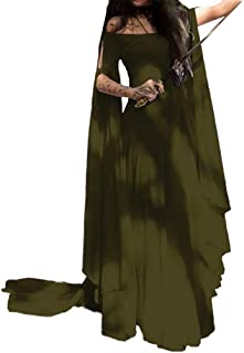 Mxssi Vintage Halloween Renascimento Medievale Costume da donna retrò maniche lunghe abito da sera travestimento lungo con...
