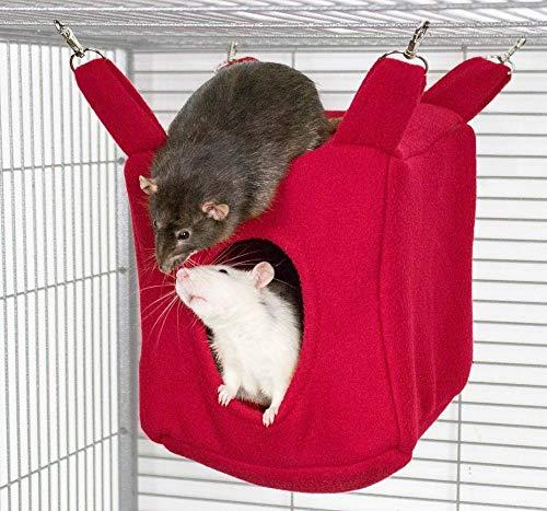 SJAKMA Würfel Kuschelhängematte Kleintier Höhle Haus Häuschen Ratte Chinchilla Frettchen Degu,rot