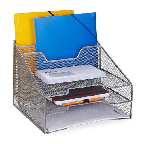 Relaxdays, silber Dokumentenablage, 5 Fächer, Din A4, Dokumentenhalter & Briefablage, Metall, H x B x T: 24 x 32 x 29 cm, 1 Stück