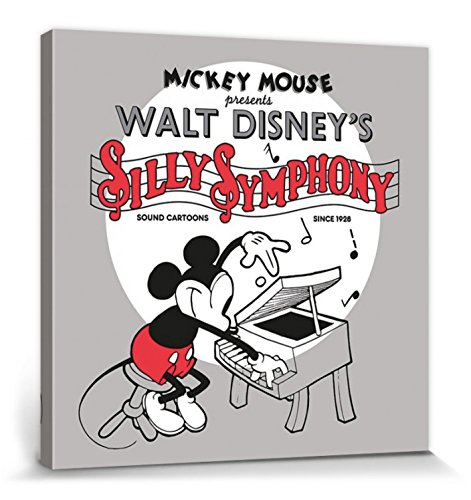 1art1 Mickey Mouse - Retrato Artístico Disney, Silly Symphony Cuadro, Lienzo Montado sobre Bastidor (40 x 40cm)