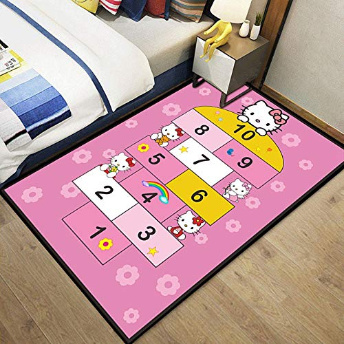 Meinianda Alfombra Rosa de Dibujos Animados para niños rayuela Digital Anime Girl Dormitorio Sala de Estar Alfombra Moderna Antideslizante Suave 100 * 160 cm