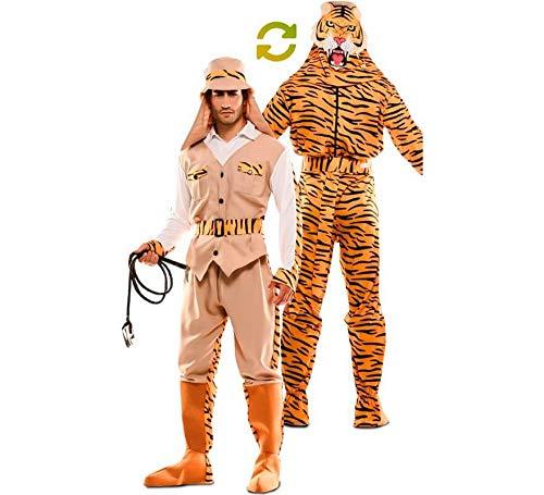 EUROCARNAVALES Herren Wendekostüm Safari Jäger Tiger 2 in 1-Kostüm braun orange Karneval (XL)